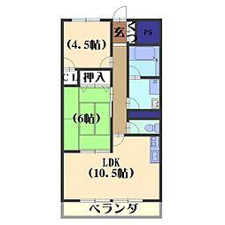 安井マンション[1-D号室]の間取り