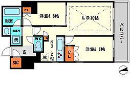 ローレルタワー心斎橋 6階2LDKの間取り