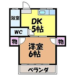 愛媛県松山市束本1丁目の賃貸アパートの間取り