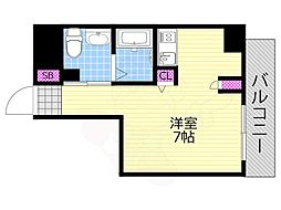 Osaka Metro千日前線 西長堀駅 徒歩4分の賃貸マンション 3階1Kの間取り