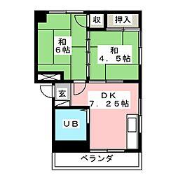 レジデンス江木[2階]の間取り