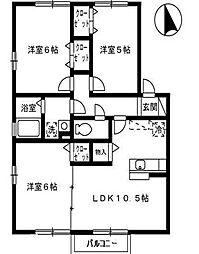 シェルノーブルB[2階]の間取り