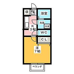 静岡県富士市入山瀬2丁目の賃貸アパートの間取り