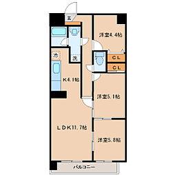 リリーマンション2号館[9階]の間取り