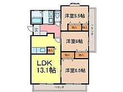 静岡県富士市十兵衛の賃貸マンションの間取り