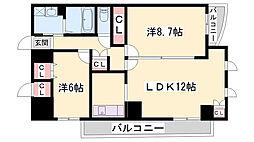 JR姫新線 余部駅 徒歩21分の賃貸マンション 3階2LDKの間取り