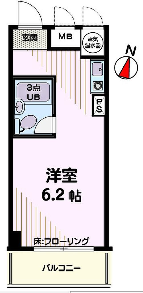 間取り(6.2帖ワンルーム)