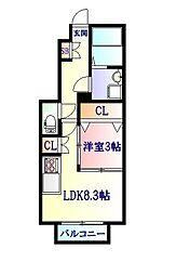 JR東北本線 太子堂駅 徒歩5分の賃貸アパート 1階1LDKの間取り