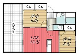 千葉県成田市公津の杜5丁目の賃貸アパートの間取り
