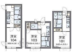 東京都世田谷区千歳台1丁目の賃貸アパートの間取り