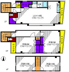 [テラスハウス] 東京都立川市富士見町6丁目 の賃貸【/】の間取り