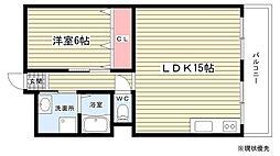 第1マンション寺直[8階]の間取り