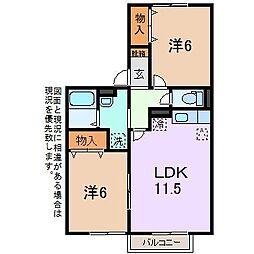 サニーハウス上今井 B[1階]の間取り