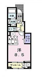 サクラメント・スクエア B 1階ワンルームの間取り