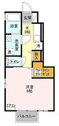 JR横浜線 淵野辺駅 バス8分 唐沢下車 徒歩3分の賃貸アパート 1階1Kの間取り