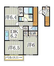 クレストM弐番館[2階]の間取り