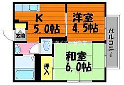 岡山県倉敷市粒江の賃貸アパートの間取り