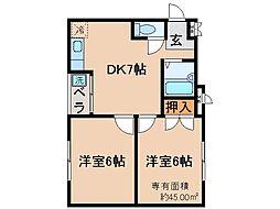 京都府京都市伏見区成町の賃貸マンションの間取り
