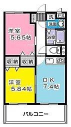 神奈川県川崎市多摩区菅馬場2丁目の賃貸マンションの間取り
