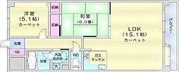 ライオンズマンション二軒茶屋 3階2LDKの間取り