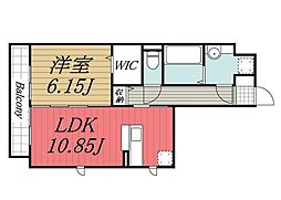 JR成田線 成田駅 バス13分 七栄四ツ角下車 徒歩3分の賃貸アパート 1階1LDKの間取り
