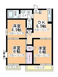 第2中平野ハウス[202号室]の間取り