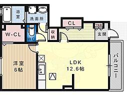 南海高野線 北野田駅 徒歩17分の賃貸アパート 1階1LDKの間取り