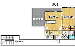 リーベル壱番館 築浅 最上階 角部屋 オートロック[3階]の間取り