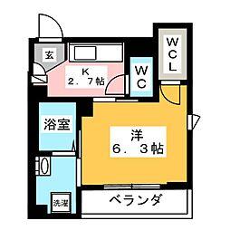 ハイツトモエ 2階1Kの間取り