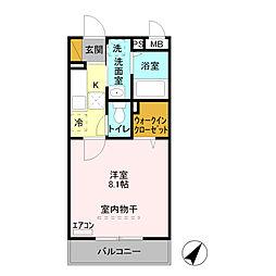 埼玉県熊谷市久下3丁目の賃貸アパートの間取り