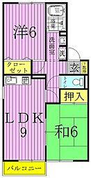 グリーンハイツ尾崎台A・B[A201号室]の間取り