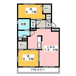 ロイヤル花水木[2階]の間取り