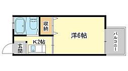 コーポ横関[102号室]の間取り