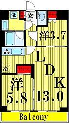 東武伊勢崎線 鐘ヶ淵駅 徒歩6分の賃貸マンション 4階2LDKの間取り