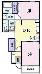 JR中央本線 春日居町駅 徒歩20分の賃貸アパート 1階2DKの間取り
