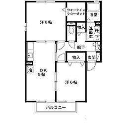 大阪府堺市南区高倉台2丁の賃貸アパートの間取り