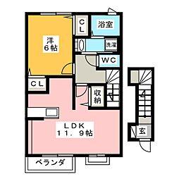 静岡県静岡市葵区大岩3丁目の賃貸アパートの間取り
