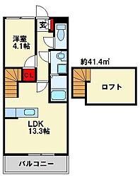 ジェニファー29 B棟 2階1LDKの間取り