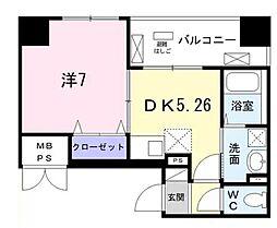東京メトロ日比谷線 築地駅 徒歩8分の賃貸マンション 2階1DKの間取り