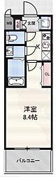 ディクス福島レジデンス 13階1Kの間取り