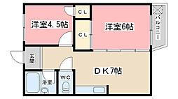 京都府京都市山科区音羽伊勢宿町の賃貸アパートの間取り