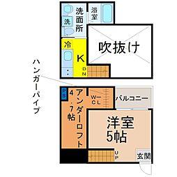 愛知県名古屋市北区上飯田西町3丁目の賃貸アパートの間取り