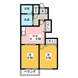 ボヌール A棟[1階]の間取り