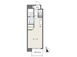ベル フォース 12階ワンルームの間取り