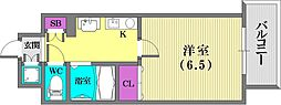 スワンズコート新神戸[601号室]の間取り