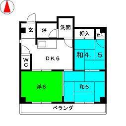 コーポマルオト[4階]の間取り