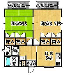 大阪府富田林市北大伴町2丁目の賃貸アパートの間取り