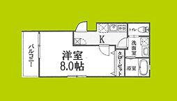 リアコートJR淡路駅前 1階1Kの間取り