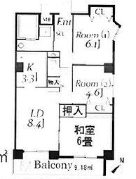 ドルミ若葉[6階]の間取り