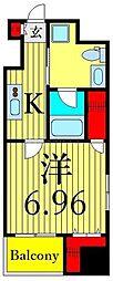 東京メトロ日比谷線 入谷駅 徒歩1分の賃貸マンション 3階1Kの間取り
